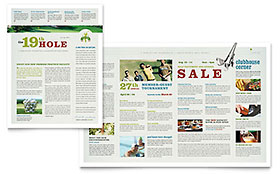 Golf Course & Instruction Newsletter - Word Template & Publisher Template