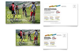Bike Rentals & Mountain Biking Postcard - Microsoft Office Template