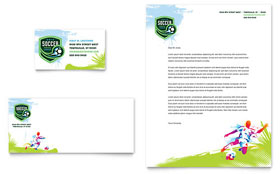 Youth Soccer Business Card & Letterhead - Microsoft Office Template