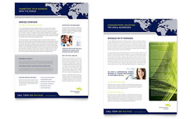 Global Communications Company Datasheet - Word Template & Publisher Template