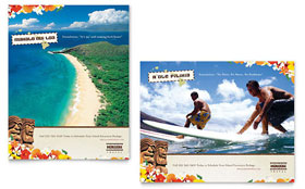 Hawaii Travel Vacation Poster - Word Template & Publisher Template