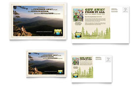 Nature Camping & Hiking Postcard - Word Template & Publisher Template