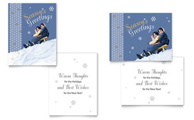 Children Sledding Greeting Card - Word Template & Publisher Template