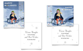 Child Sledding Greeting Card - Word Template & Publisher Template