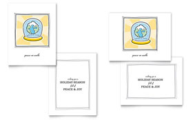World Snowglobe Greeting Card - Word Template & Publisher Template