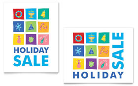 Holiday Icons Sale Poster - Word Template & Publisher Template