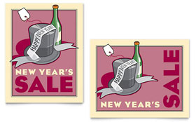 New Year's Champagne Poster Template