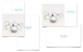 Silver Ornaments Greeting Card Template