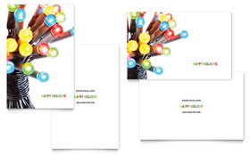 Christmas Lights Greeting Card Template