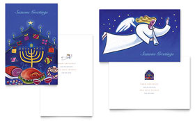 Holiday Seasons Menorah Greeting Card Template