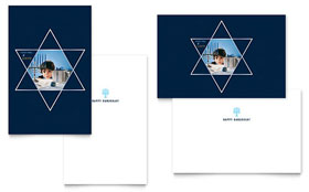 Star of David Greeting Card - Word Template & Publisher Template