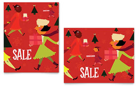 Holiday Shoppers Sale Poster - Word Template & Publisher Template