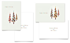 Modern Holiday Trees Greeting Card - Word Template & Publisher Template