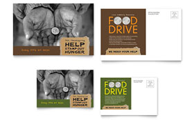 Holiday Food Drive Fundraiser Postcard - Word Template & Publisher Template