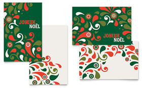 Festive Holiday Greeting Card - Word Template & Publisher Template