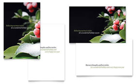 Holly Leaves Greeting Card - Word Template & Publisher Template