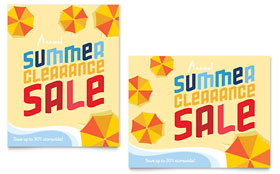 Summer Beach Sale Poster - Word Template & Publisher Template