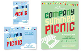 Company Summer Picnic Flyer & Ad - Word Template & Publisher Template