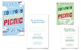 Company Summer Picnic Note Card Template