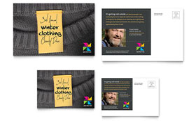 Winter Clothing Drive Postcard - Word Template & Publisher Template