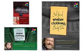 Winter Clothing Drive Flyer & Ad - Word Template & Publisher Template
