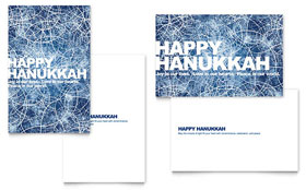 Happy Hanukkah Greeting Card - Word Template & Publisher Template