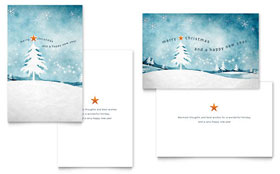 Winter Landscape Greeting Card - Word Template & Publisher Template