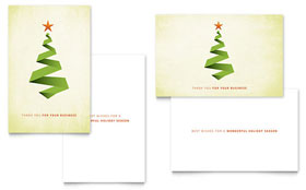 Ribbon Tree Greeting Card - Word Template & Publisher Template