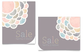 Spring Bloom Sale Poster - Word Template & Publisher Template