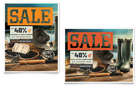 Fishing Gear Sale Poster - Word Template & Publisher Template