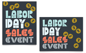 Labor Day Sale Poster - Word Template & Publisher Template