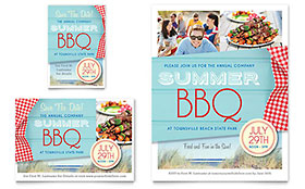 Summer BBQ Ad - Word Template & Publisher Template