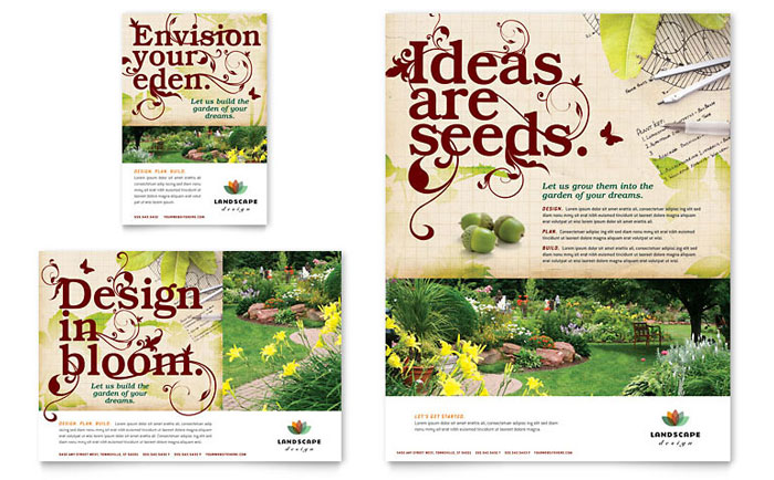 Landscape design flyer ad template word publisher for Landscaping flyers templates