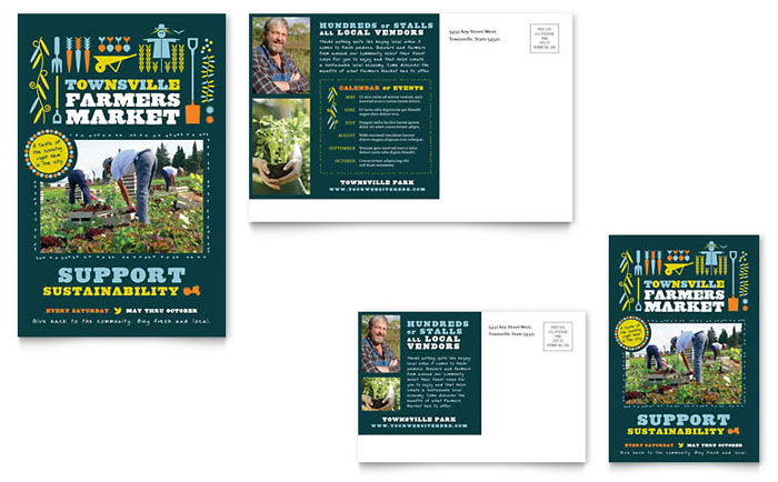 Farmers market postcard template word publisher for 6x4 postcard template