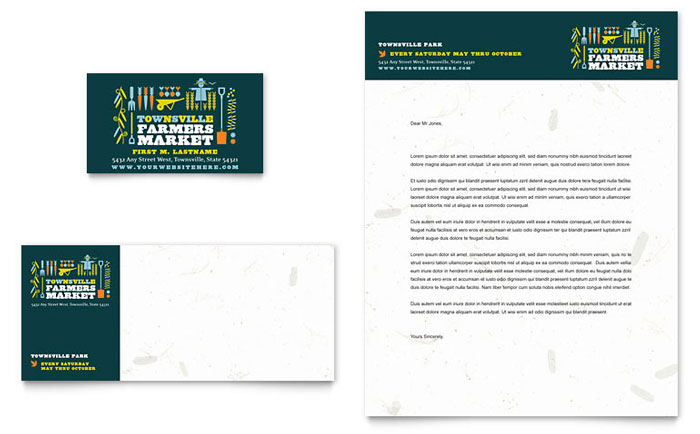 Farmers Market Business Card Amp Letterhead Template Word