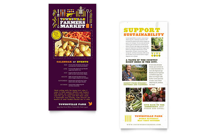 Farmers Market Rack Card Template - Word & Publisher