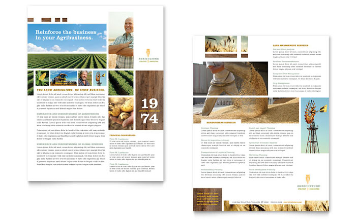 Farming & Agriculture Datasheet Template - Word & Publisher