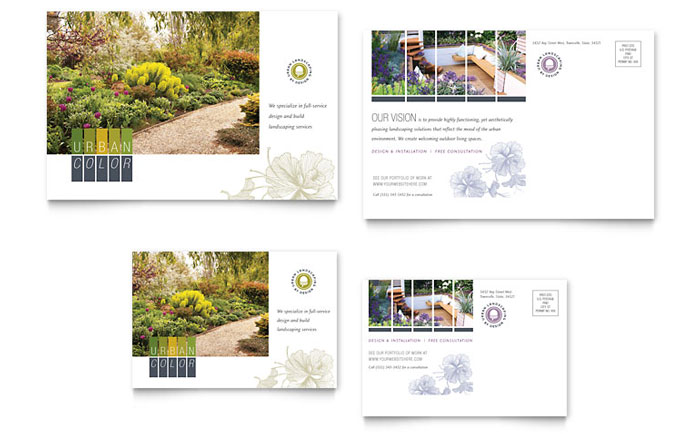 Urban landscaping postcard template word publisher for Landscaping flyers templates