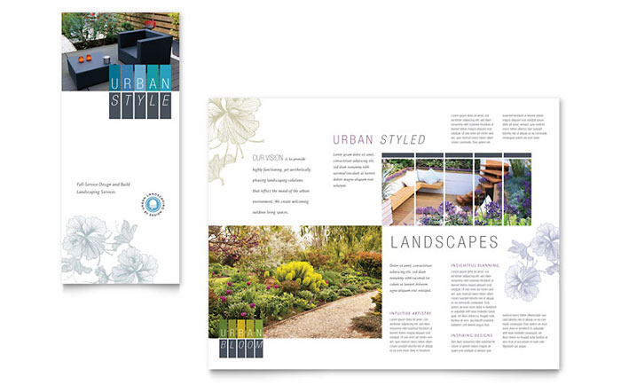 Urban landscaping tri fold brochure template word for Microsoft works templates brochure