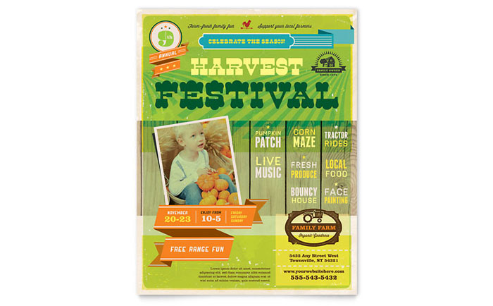 Harvest Festival Flyer Template - Word & Publisher
