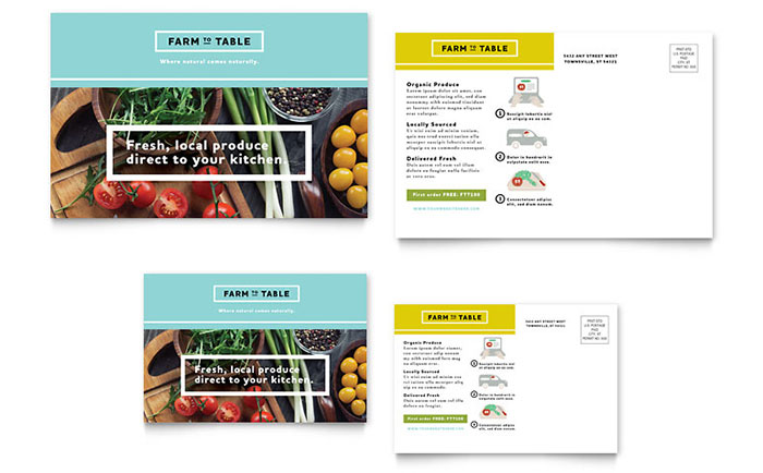 Organic Food Postcard Template - Word & Publisher
