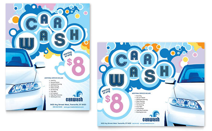 Car Wash Poster Template Word amp Publisher