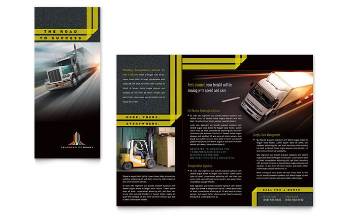 Trucking transport tri fold brochure template word for Microsoft office publisher templates for brochures