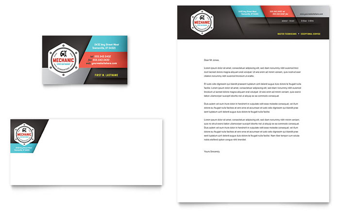 Auto Mechanic Business Card & Letterhead Template - Word & Publisher