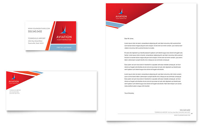 Aviation Flight Instructor Business Card & Letterhead Template - Word & Publisher