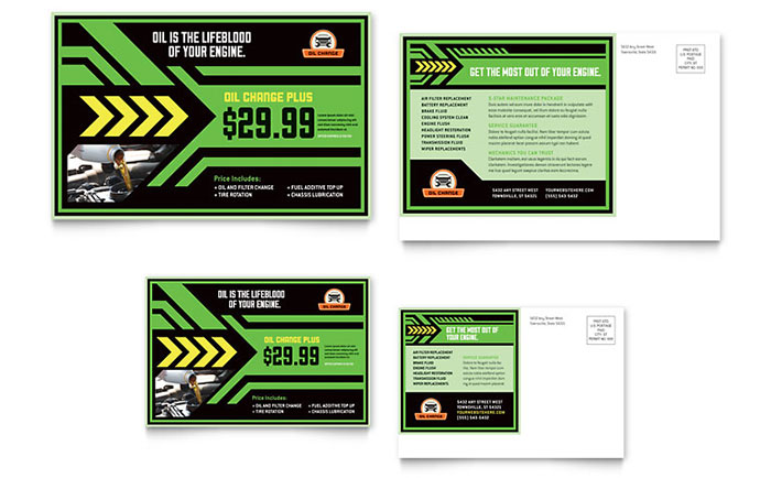 Oil Change Postcard Template - Word & Publisher