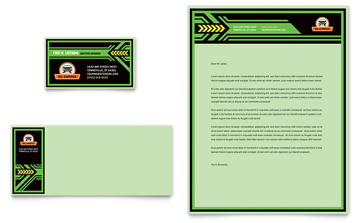 Oil Change Business Card & Letterhead Template - Word & Publisher