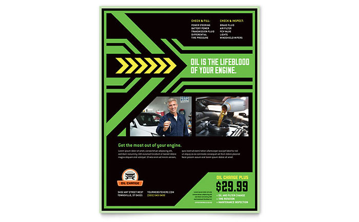 Oil Change Flyer Template - Word & Publisher