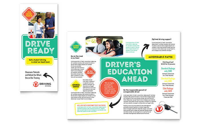 Driving school brochure template word publisher for Free template for brochure microsoft office