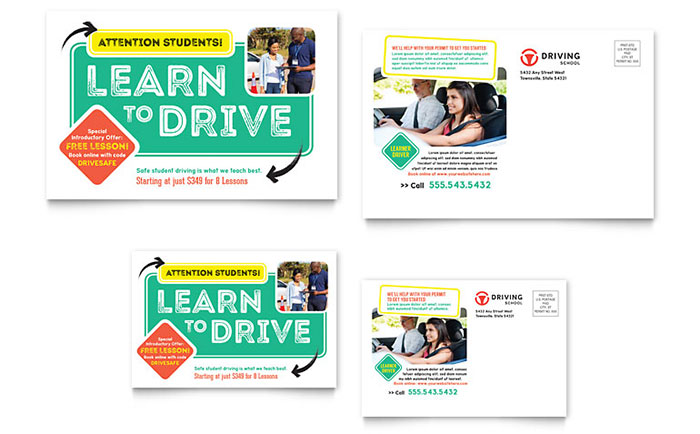 Driving School Postcard Template - Word & Publisher